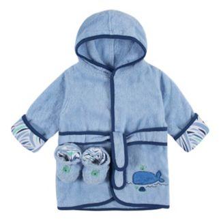 Baby Boy Just Born Robe & Booties Set