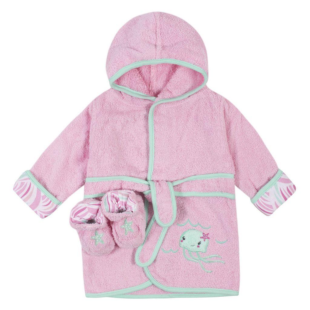 Baby Girl Just Born Robe & Booties Set
