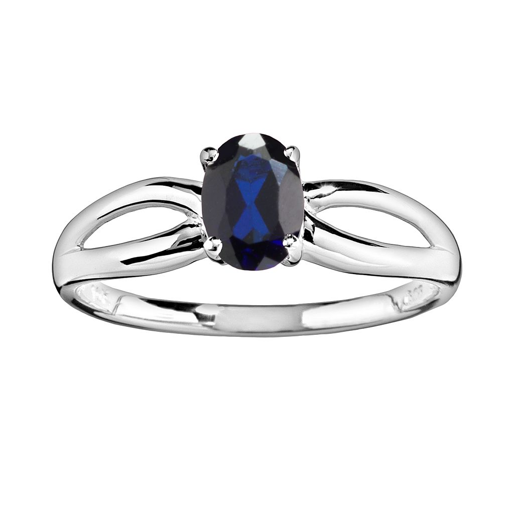 10k White Gold Lab-Created Sapphire Ring