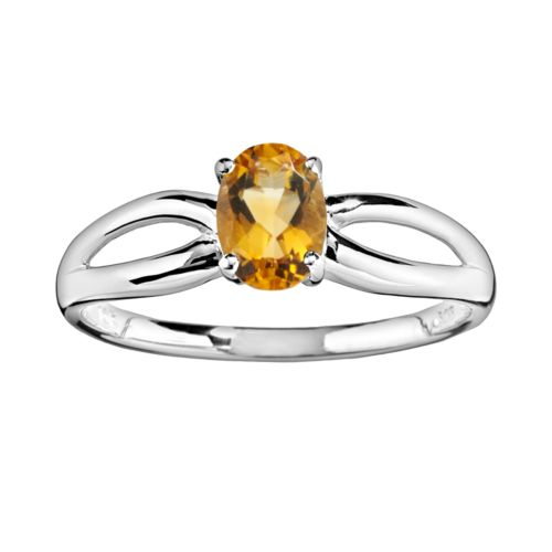 10k White Gold Citrine Ring