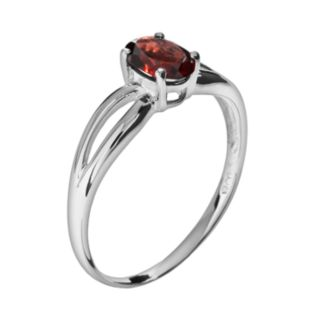 10k White Gold Garnet Ring