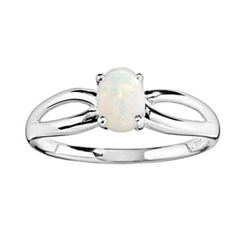 10k White Gold Opal Ring