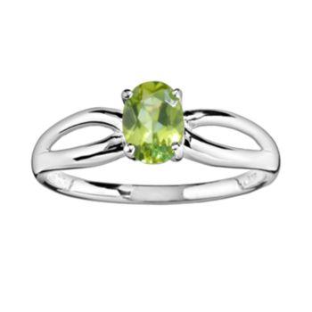 10k White Gold Peridot Ring