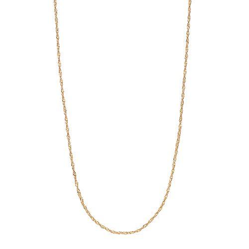 Primavera 24k Gold Over Silver Singapore Chain Necklace