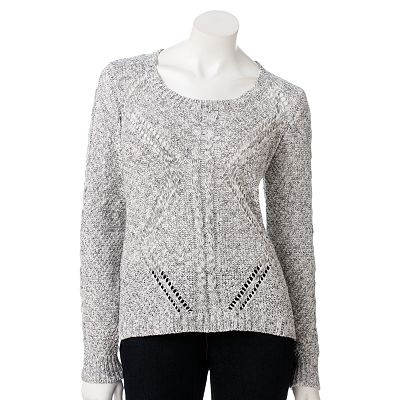 SONOMA life + style Marled Open-Work Sweater