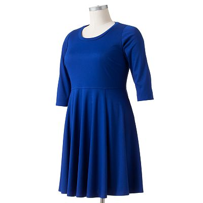 Solid Fit and Flare Ponte Dress - Women's Plus