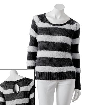 Candie's Striped Fuzzy Sweater - Juniors
