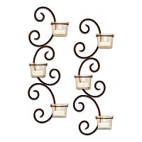 San Miguel 2 pc Classic Tealight Candleholder Wall Sconce Set