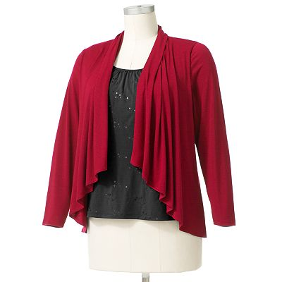 Croft and Barrow Embellished Mock-Layer Cardigan - Women's Plus