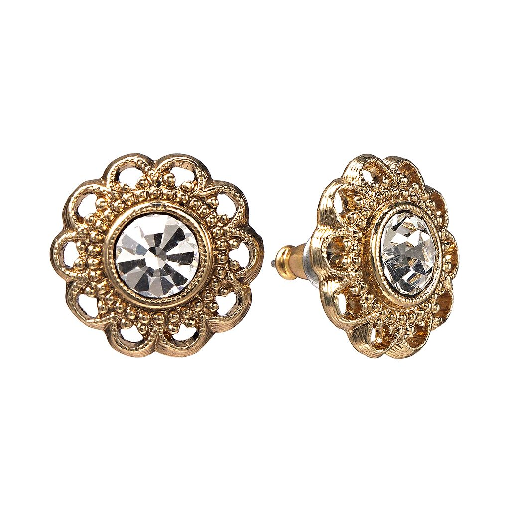 1928 Filigree Flower Stud Earrings