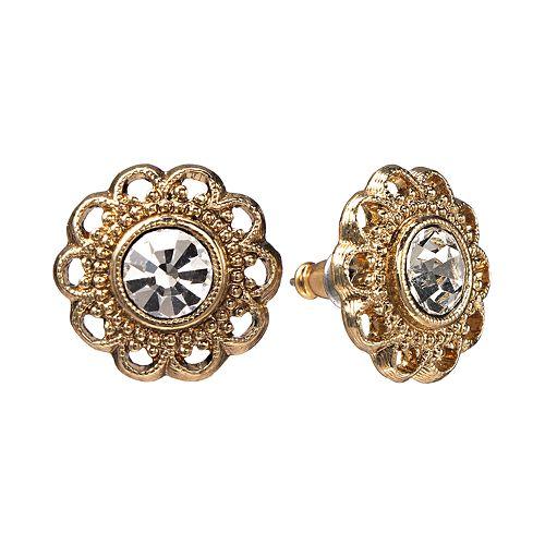 1928 Filigree Flower Stud Earrings