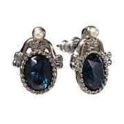 1928 Silver Tone Simulated Crystal and Simulated Pearl Filigree Stud Earrings