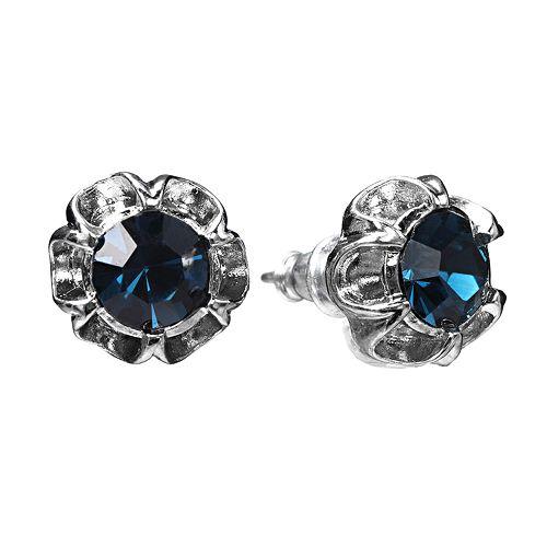 1928 Simulated Crystal Flower Stud Earrings