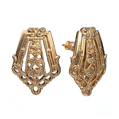 1928 Gold Tone Filigree Button Stud Earrings