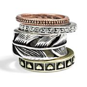 Mudd Tri-Tone Simulated Crystal Textured Stack Ring Set
