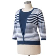 Cathy Daniels Striped Mock-Layer Sweater - Women's Plus