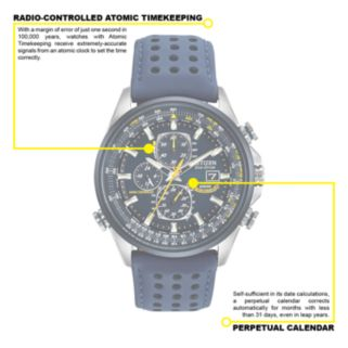 Citizen Eco-Drive Blue Angels Stainless Steel Perpetual Calendar Flight Computer Chronograph Watch - AT8020-03L