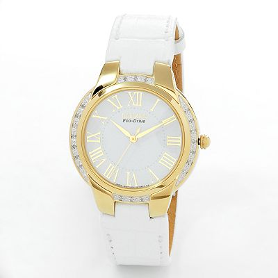 Citizen Eco-Drive Ciena Gold Tone Stainless Steel Diamond Accent Leather Watch - EM0092-01A - Women