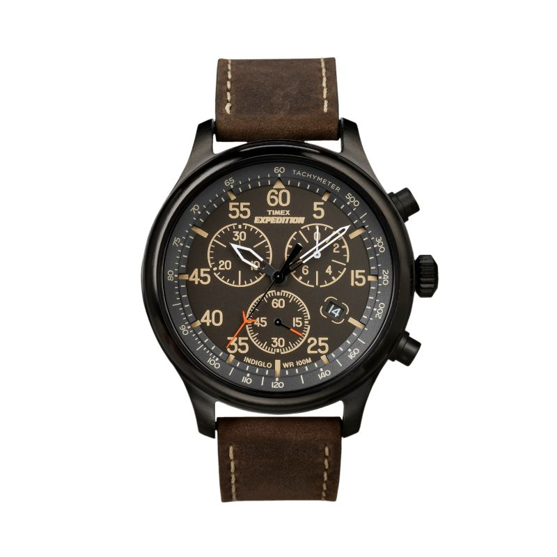 timex expedition field black chronograph leather