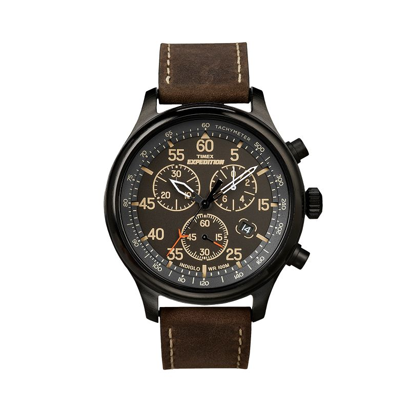 Timex expedition field black chronograph leather watch t49905kz men for Watches kohls