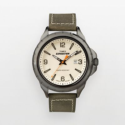 Timex Expedition Rugged Field Gunmetal Leather Watch - T49909KZ - Men