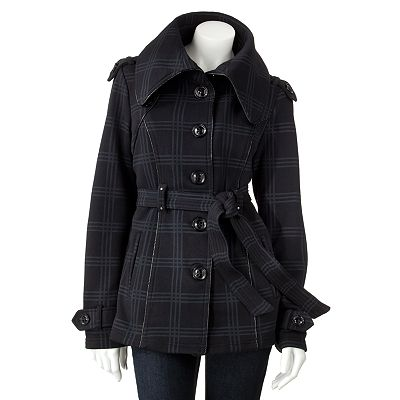 Sebby Plaid Fleece Trench Jacket - Juniors