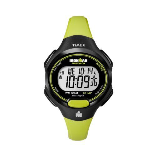 Timex Ironman Triathlon 10-Lap Black and Green Resin Digital Chronograph Watch - T5K527KZ - Women