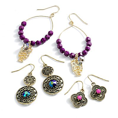 Mudd Gold Tone Simulated Crystal Bead Drop Earring Set
