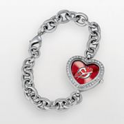 Game Time New Jersey Devils Stainless Steel Cubic Zirconia Heart Watch - NHL-HEA-NJ - Women