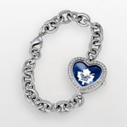 Game Time Toronto Maple Leafs Stainless Steel Cubic Zirconia Heart Watch - NHL-HEA-TOR - Women