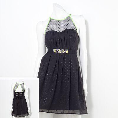 Princess Vera Wang Pleat Chiffon Contrast Dress - Juniors