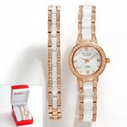 Armitron NOW Rose Gold Tone and White Ceramic Crystal Watch and Bracelet Set - Made with Swarovski Elements - 75/5056WTRGST - Women