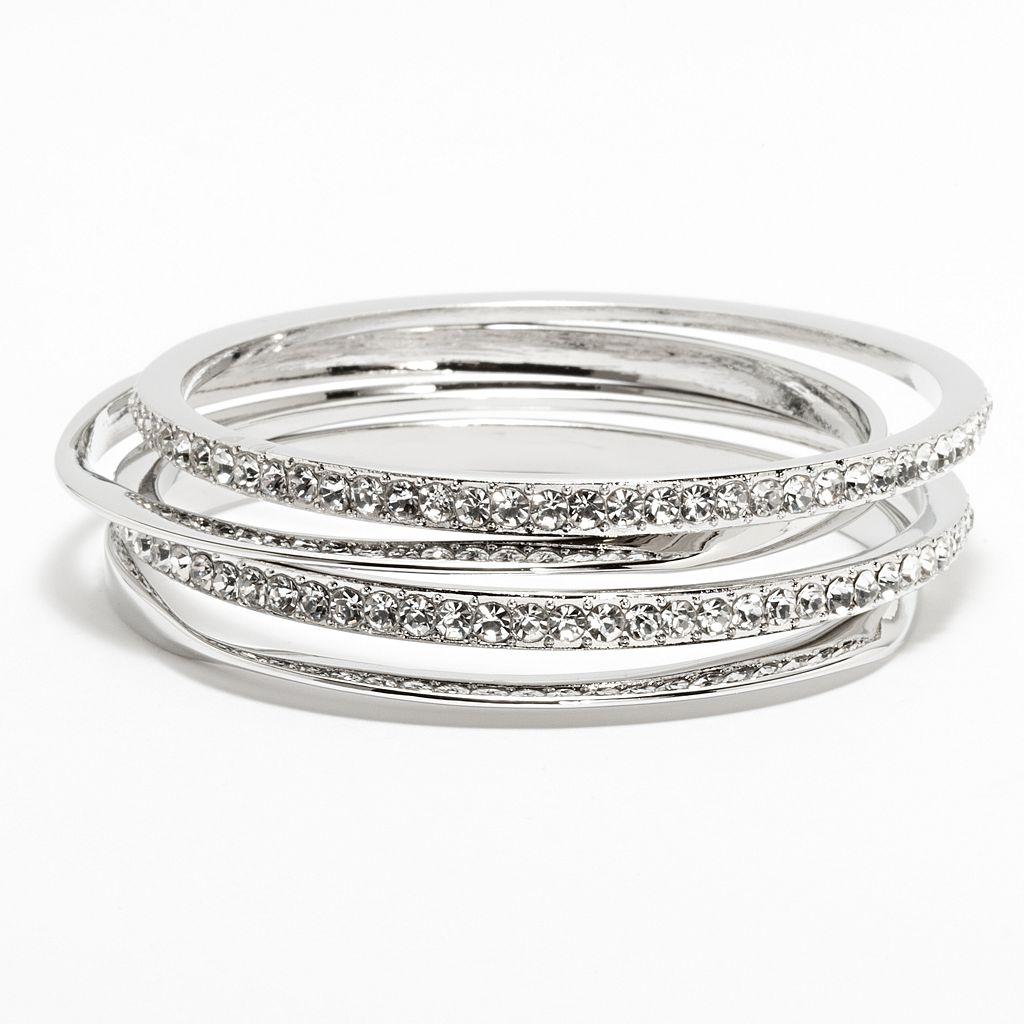 Jennifer Lopez Simulated Crystal Hammered Bangle Bracelet Set