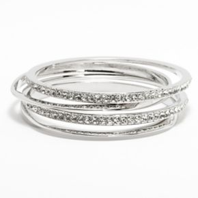 Jennifer Lopez Simulated Crystal Hammered Bangle Bracelet Set