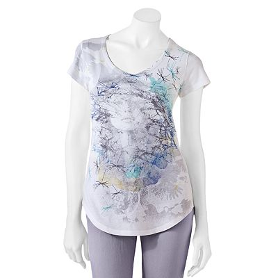 Mudd Floral Face Shirttail Tee - Juniors