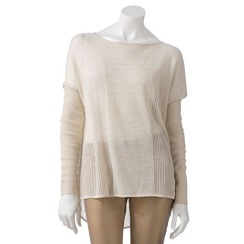 Women's Jennifer Lopez Lurex Drop-Tail Hem Sweater