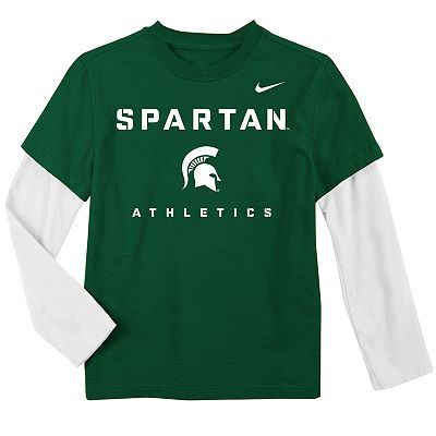 Nike Michigan State Spartans Mock-Layer Dri-FIT Tee - Boys 4-7
