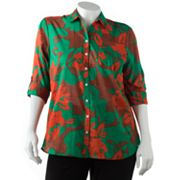 Croft and Barrow Floral Button-Tab Shirt - Women's Plus