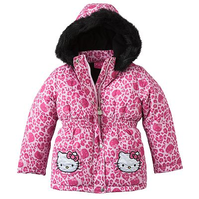 Hello Kitty Cheetah Puffer Jacket - Girls 4-6x