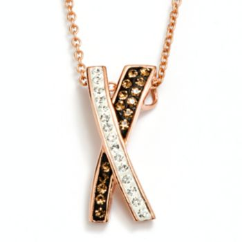 14k Rose Gold Plated Crystal Crisscross Pendant