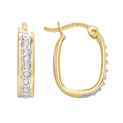 Diamond Mystique 18k Gold Over Silver Diamond Accent U-Hoop Earrings