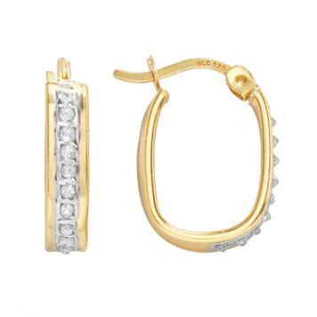 Diamond Mystique 18k Gold Over Silver Diamond Accent U-Hoop Earrings