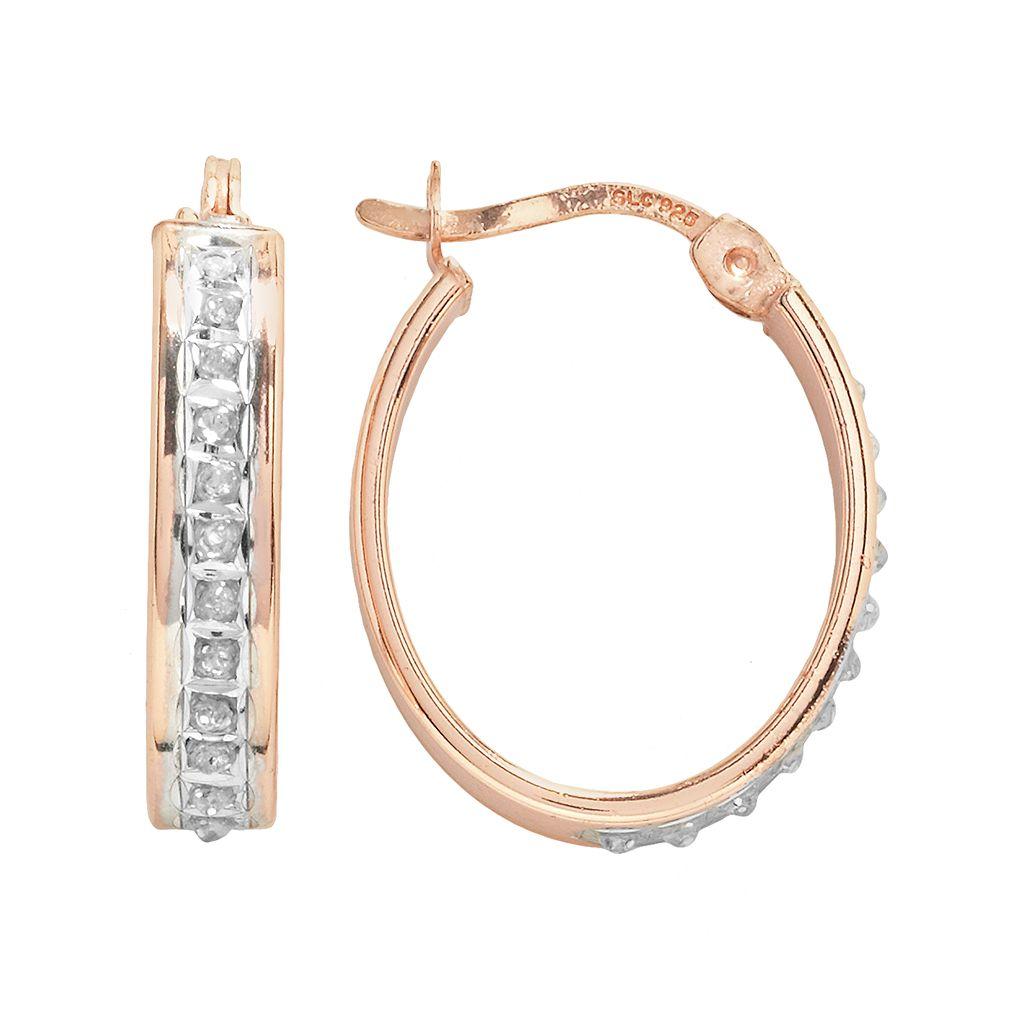 Diamond Mystique 18k Rose Gold Over Silver Diamond Accent Oval Hoop Earrings