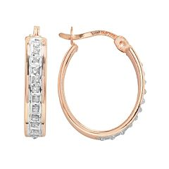 Diamond Mystique 18k Rose Gold Over Silver Diamond Accent Oval Hoop Earrings