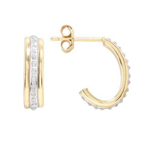 Diamond Mystique 18k Gold Over Silver Diamond Accent J-Hoop Earrings