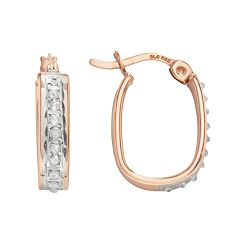 Diamond Mystique 18k Rose Gold Over Silver Diamond Accent U-Hoop Earrings