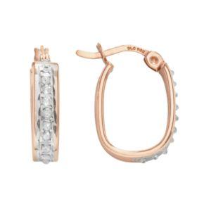 Diamond Mystique 18k Rose Gold Over Silver Diamond Accent U-Hoop Earrings