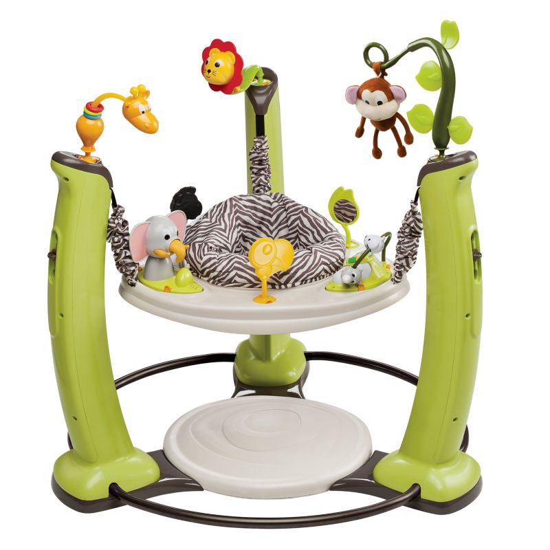 Evenflo ExerSaucer Jump and Learn Stationary Jumper Jungle Quest Developmental Toy, Multicolor