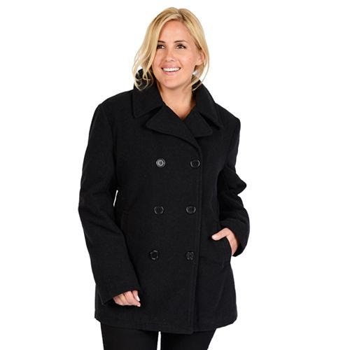 9c1062d5bcb0c Plus Size Excelled Solid Peacoat