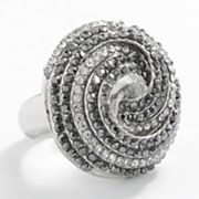Jennifer Lopez Silver Tone Simulated Crystal Swirl Ring